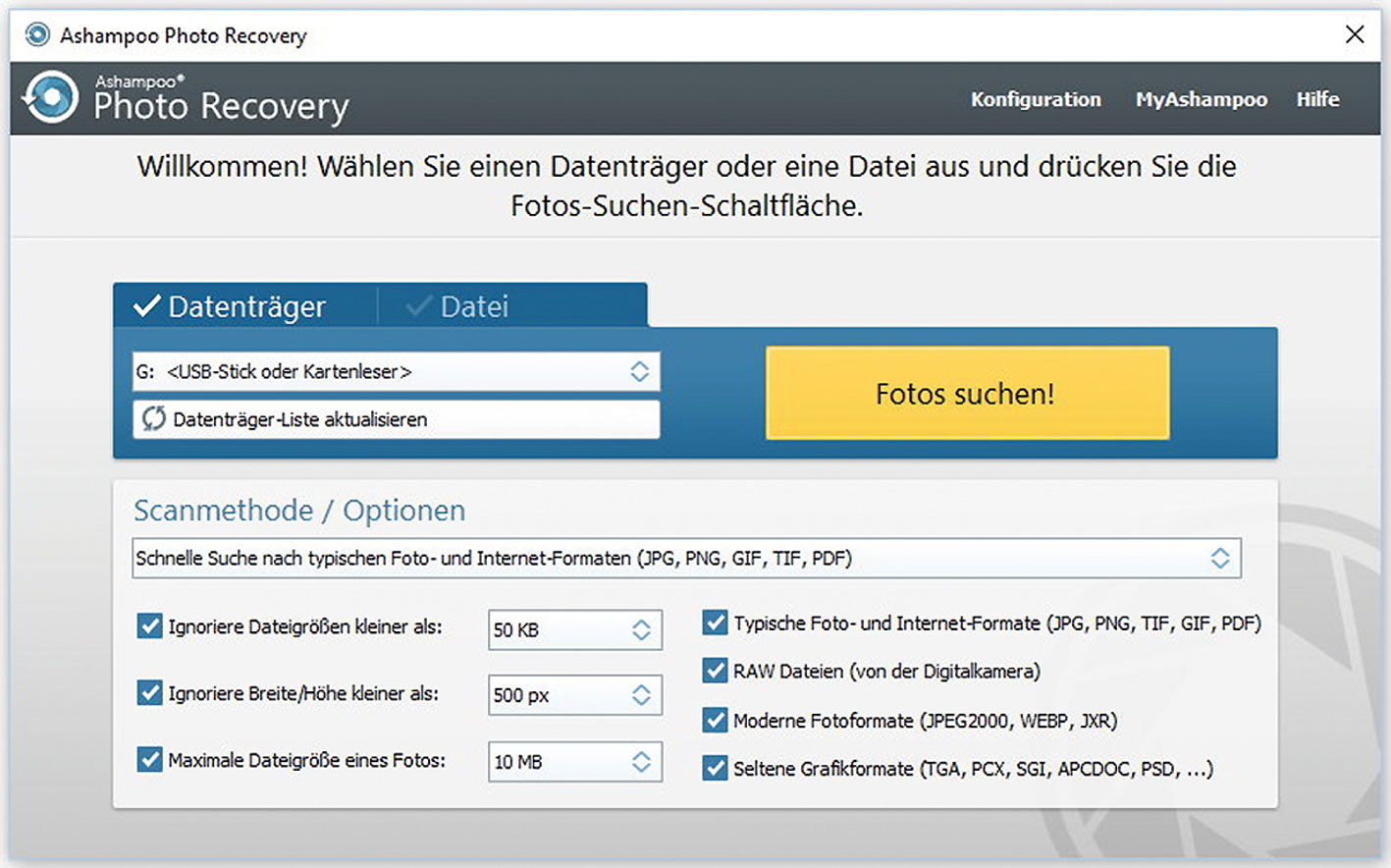 Datenrettung mit Ashampoo Photo Recovery