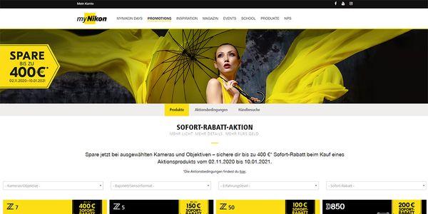 Bis zu 400 Euro sparen bei der Sofort-Rabatt-Aktion von Nikon