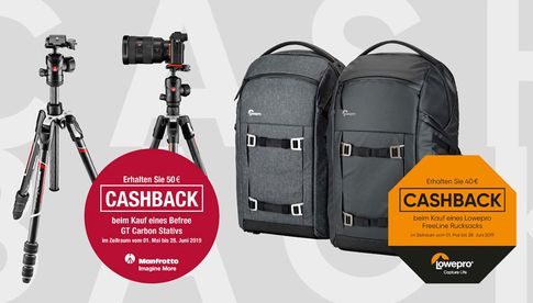 Cashback-Aktion für Manfrotto Befree GT Carbon und Lowepro Freeline.