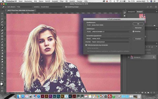 """Vor der Übergabe an den Print-Diensleister muss ein """"AdobeRGB""""-Bild in den """"sRGB""""-Farbraum mit dem Befehl """"In Profil umwandeln"""" konvertiert werden. Das ist in den Profileinstellungen in """"Adobe Photoshop"""" entsprechend klar gekennzeichnet."""