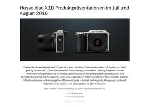 Hasselblad X1D: Roadshow bei Fotohändlern