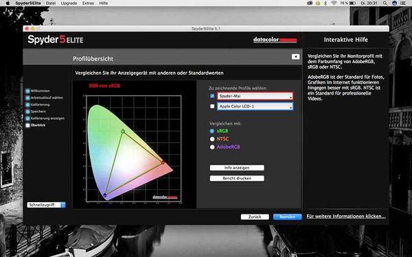 Nach der Kalibrierung stellt die Software in einer Grafik dar, wie umfangreich etwa der sRGB-Farbraum nun vom Monitor wiedergeben werden kann. Hier entspricht die LCD-Darstellung praktisch komplett der sRGB-Wiedergabe.