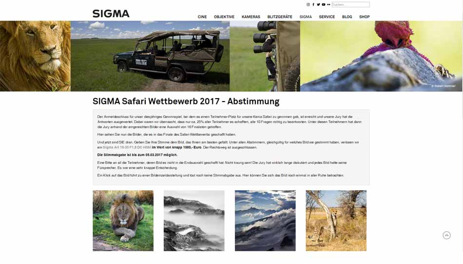 Sigma-Safari 2017 - Voting durch Internet-Besucher