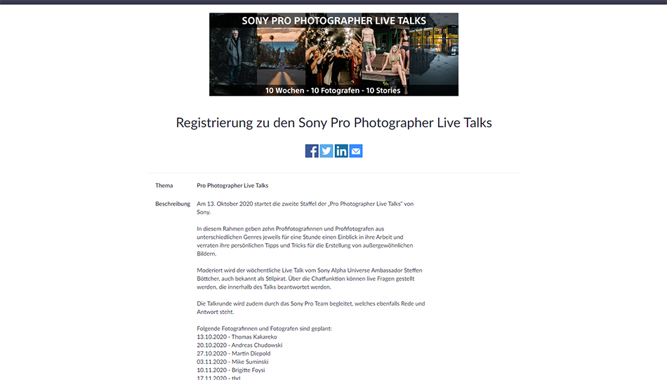 Sony Pro Photographer Live Talks